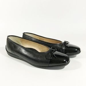ARA Black Ballet Flats with Tie at Front